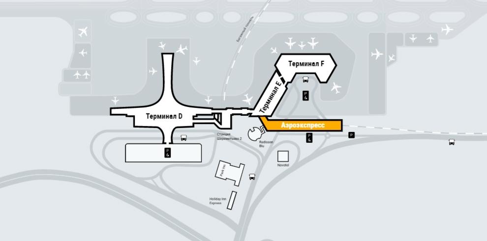 Схема расположения терминала «Аэроэкспресс»в аэропорту Шереметьево