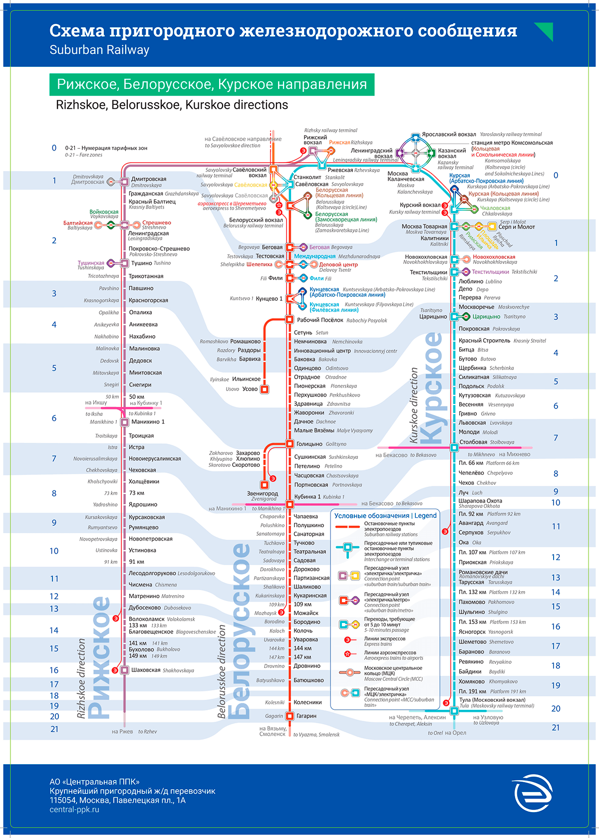 Схема движения пригородных электропоездов Рижского направления